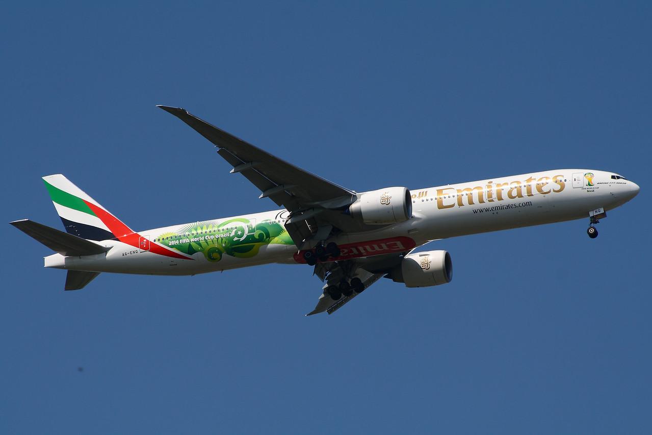 A6-ENQ Emirates Airways Boeing 777-31H(ER) Glasgow Airport 23/07/2014 Wearing 2014 FIFA World Cup Brazil colour scheme