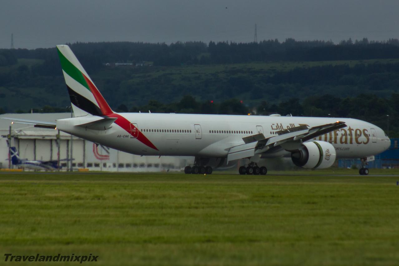 A6-ENK Emirates Airways Boeing 777-31H(ER) Glasgow Airport 26/06/2016