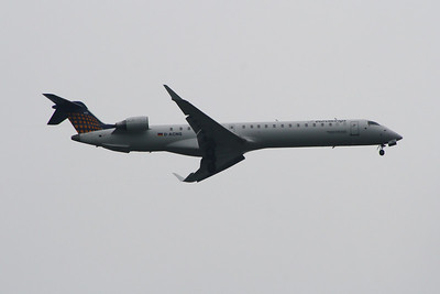 D-ACNQ A Eurowings Canadair CL-600-2D24 Regional Jet CRJ-900 on approach to Glasgow Airport