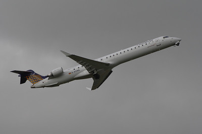 A Eurowings Canadair CL-600-2D24 Regional Jet CRJ-900 (D-ACNA) taking off from Glasgow Airport
