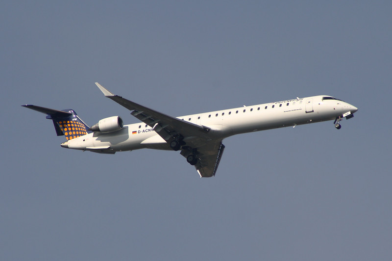 D-ACNW A Eurowings Canadair CL-600-2D24 Regional Jet CRJ-900 on approach to Glasgow Airport