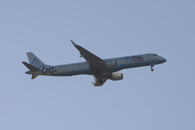 G-FBEA Flybe Embraer ERJ-190-200LR 195LR on approach to Glasgow Airport. The aircraft was withdrawn in August 2014.