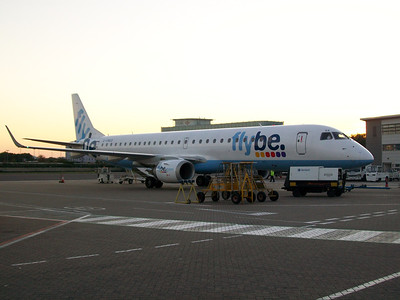 G-FBED Flybe Embraer ERJ-190-200LR 195LR on the ramp at Southampton Airport. The aircraft was withdrawn in March 2014.