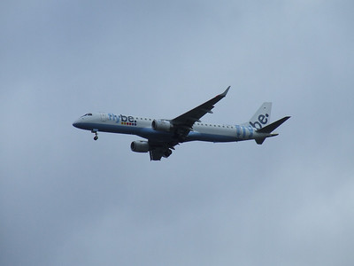 G-FBEC Flybe Embraer ERJ-190-200LR 195LR on approach to Glasgow Airport. The aircraft was withdrawn in March 2014.