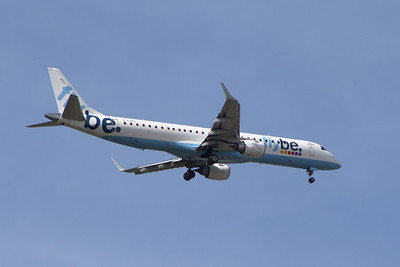G-FBEF Flybe Embraer ERJ-190-200LR 195LR on approach to Glasgow Airport.