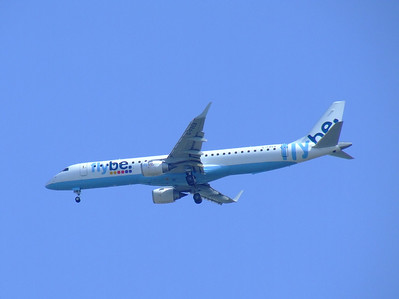 G-FBEB Flybe Embraer ERJ-190-200LR 195LR on approach to Glasgow Airport.The aircraft was withdrawn in October 2014.