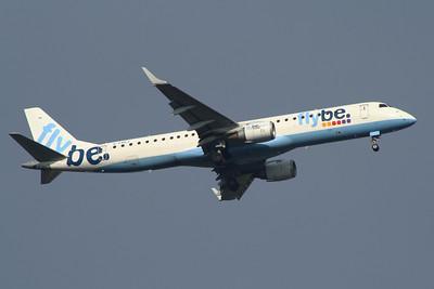 G-FBEJ Flybe Embraer ERJ-190-200LR 195LR on approach to Glasgow Airport