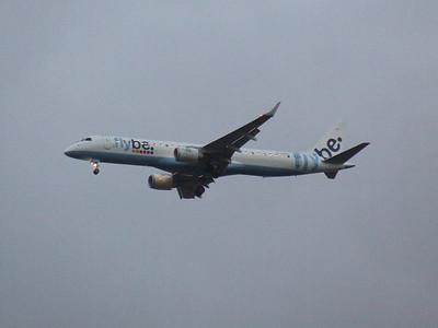 G-FBEG Flybe Embraer ERJ-190-200LR 195LR on approach to Glasgow Airport