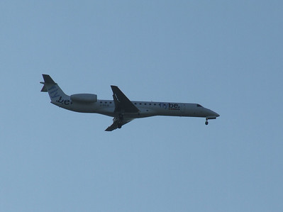An Embraer EMB-145EP (ERJ-145EP)(G-ERJB) on approach to Glasgow Airport. This is one of the former BA Connect aircraft that was transferred when Flybe acquired the aircraft and routes. The aircraft is now in use with Dniproavia in Ukraine