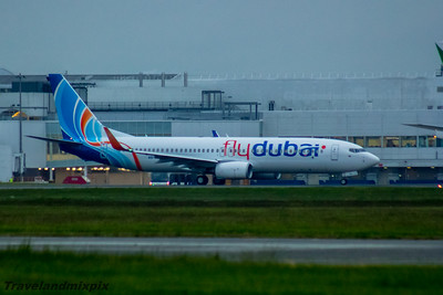 A6-FGA flydubai Boeing 737-8KN Glasgow Airport 27/05/2016 Departing Glasgow Airport after layover on the first leg of it's delivery flight from the manufacturer to the airline.