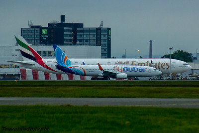 A6-FGA flydubai Boeing 737-8KN A6-EPD Emirates Boeing 777-31H(ER) Glasgow Airport 27/05/2016 Departing Glasgow Airport after layover on the first leg of it's delivery flight from the manufacturer to the airline. Passing by an Emirates B773 - likely this won't be the last time these two planes will see each other