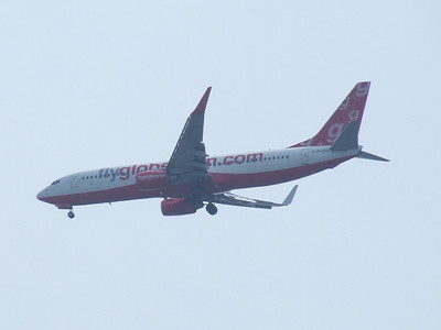 Boeing 737-8Q8 (G-DLCH) of Flyglobespan on approach to Glasgow Airport. It was brand new when it joined the fleet in April 2005, and was withdrawn in December 2009 when the company ceased trading.