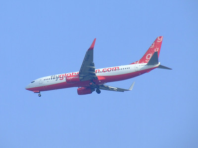 Boeing 737-8Q8 (G-SAAW) of Flyglobespan on approach to Glasgow Airport. It was brand new when it joined the fleet in May 2005, and was withdrawn in December 2009 when the company ceased trading.