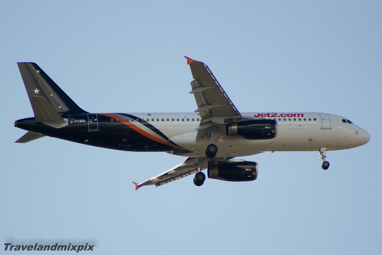 G-POWM Titan Airways Airbus A320-232 Glasgow Airport 11/05/2015 Operating for Jet2, leased from April 2015 to September 2015