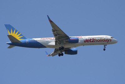 A Boeing 757-204 (G-LSAL) of Jet2 Holidays on approach to Glasgow Airport. It joined the fleet in February 2011 on lease from Allegiant Air and withdrawn in October 2012 and returned.