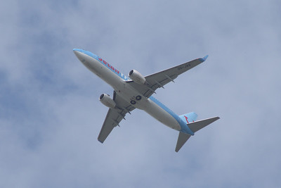 OO-JAQ A Boeing 737-8K5 of Jetairfly after departure from Glasgow Airport