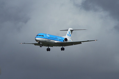 A KLM Cityhopper Fokker 70 (F-28-0070) (PH-KZW) about to land at Glasgow Airport.