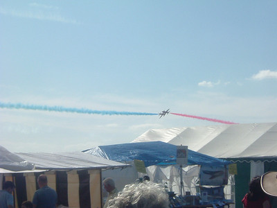 Two of the Red Arrows during a close passing manouver