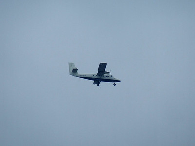 G-BZFP A de Havilland Canada DHC-6-300 Twin Otter of Loganair on approach to Glasgow Airport. It is unbranded after having lost it's British Airways livery after the change in franchise