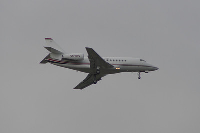 CS-DFG A NetJets Europe Dassault Falcon 2000EX on approach to Glasgow Airport