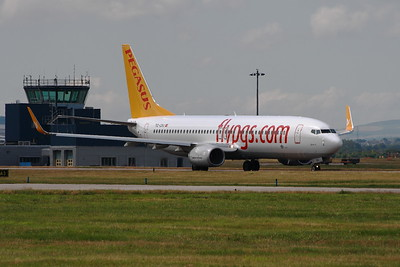 TC-CPJ Boeing 737-82R of Pegasus Airlines taxiing at Glasgow Airport. The aircraft was first flown new by Boeing five weeks prior to the picture being taken and had been part of the Pegasus for exactly one month.