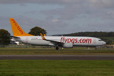 TC-CPJ Boeing 737-82R of Pegasus Airlines landing at Glasgow Airport