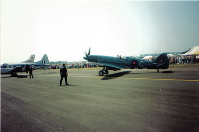 PS853 Supermarine Spitfire PR.XIX Battle of Britain Memorial Flight Royal Air Force Prestwick Airport 06/06/1992 In the colours of 16 (PR) Squadron, 2nd Tactical Air Force
