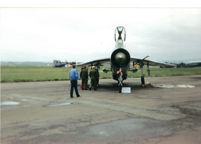 XR771 English Electric Lightning F6 5 Squadron Royal Air Force Prestwick Airport 30/05/1987 Withdrawn in 1988 and is now resident at the Midland Aviation Museum.