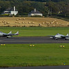 LN-DHY<br> de Havilland DH115 Vampire FB.52<br>LN-DHZ<br> de Havilland DH115 Vampire T.55<br> Norwegian Air Force Historical Squadron<br> Prestwick Airport<br> 04/09/2016<br>