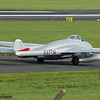 LN-DHY<br> de Havilland DH115 Vampire FB.52<br> Norwegian Air Force Historical Squadron<br> Prestwick Airport<br> 04/09/2016<br> <i>Operated by the Norwegian Air Force Historical Squadron, the aircraft is painted to represent PX-K, used by RNoAF from 1952-55  with 336 Squadron, the first pure jet squadron of RNoAF. This  aircraft was licence built in Switzerland and served the Swiss Air Force from 1952-1990. It passed through a number of owners prior to being brough to Norway in 2011. </i>