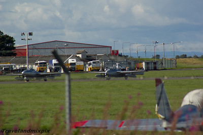 LN-DHY de Havilland DH115 Vampire FB.52LN-DHZ de Havilland DH115 Vampire T.55 Norwegian Air Force Historical Squadron Prestwick Airport 04/09/2016