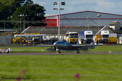 LN-DHZ de Havilland DH115 Vampire T.55 Norwegian Air Force Historical Squadron Prestwick Airport 04/09/2016 Operated by the Norwegian Air Force Historical Squadron, the aircraft is painted to represent PX-M, used by RNoAF from 1952-55  with 336 Squadron, the first pure jet squadron of RNoAF. This  aircraft was licence built in Switzerland and served the Swiss Air Force from 1959-1990. It was sold to Source Classic Jet Flight before being acquired in 2005 for it's current purpose.