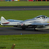 LN-DHZ<br> de Havilland DH115 Vampire T.55<br> Norwegian Air Force Historical Squadron<br> Prestwick Airport<br> 04/09/2016<br> <i>Operated by the Norwegian Air Force Historical Squadron, the aircraft is painted to represent PX-M, used by RNoAF from 1952-55  with 336 Squadron, the first pure jet squadron of RNoAF. This  aircraft was licence built in Switzerland and served the Swiss Air Force from 1959-1990. It was sold to Source Classic Jet Flight before being acquired in 2005 for it's current purpose.</i>