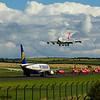 British Aerospace Hawk T1a<br> Red Arrows<br> Royal Air Force<br> EI-ESN<br> Ryanair<br> Boeing 737-8AS<br> LX-TCV<br> Cargolux Italia <br> Boeing 747-4R7F<br> Prestwick Airport<br> 04/09/2016<br>