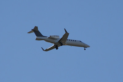 G-PFCT A Learjet 45 owned by The Fighter Collection Ltd on approach to Glasgow Airport