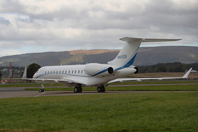 N802CB Bombardier Global Express BD-700-1A10 owned by PFM Holdings LLC parked at Glasgow Airport