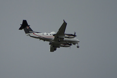 N352BC A Hawker Beechcraft MC-12W Huron (350ER)  of L3com on approach to Glasgow Airport. This is a highly modified version of the Beech Super King Air as used by the US Air Force for intelligence gathering