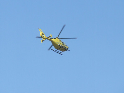 Eurocopter EC-135T of Scottish Ambulance Service (G-SASA) after take off from Glasgow City Heliport