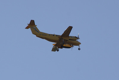 A Scottish Ambulance Service (Gama Aviation) Raytheon B200C King Air (G-SASC) on approach to Glasgow Airport