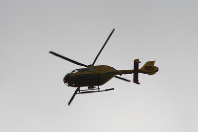 Eurocopter EC-135T-2 of Police Scotland (G-SPHU) in service and heading for Glasgow City Heliport. It is currently on loan after the dedicated helicopter crashed into the Clutha Bar in November 2013.