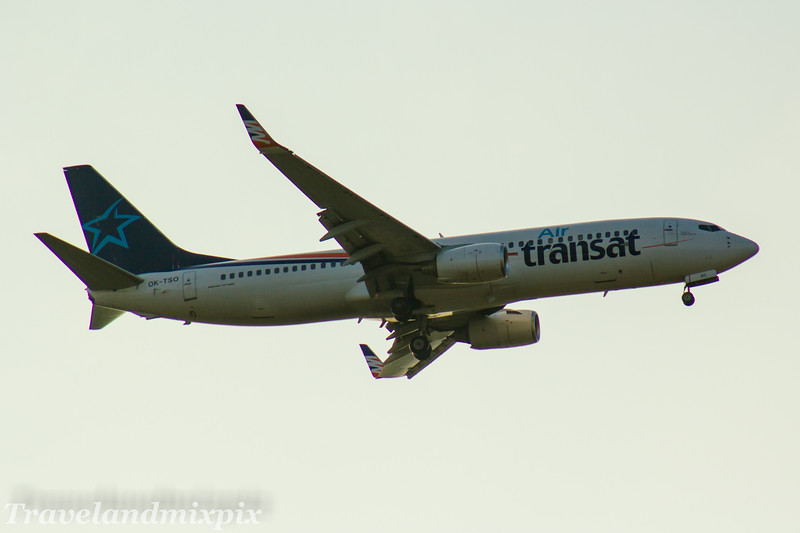 OK-TSO<br> Air Transat<br> Boeing 737-8GQ<br> Glasgow Airport<br> 02/05/2017<br> <i>Leased from SmartWings from 12/12/2016 to 01/05/2017. Landing at Glasgow Airport for a re-fueling stop on route to Prague after coming off lease</i>