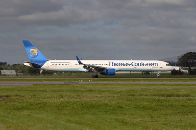 G-JMAA A Thomas Cook Airlines Boeing 757-3CQ landing at Glasgow Airport
