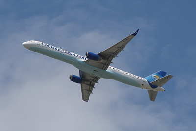 A Thomas Cook Airlines Boeing 757-3CQ (G-JMAA) after departure from Glasgow Airport
