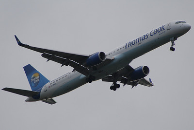 G-JMAB A Thomas Cook Airlines Boeing 757-3CQ on approach to Glasgow Airport now sporting new winglets