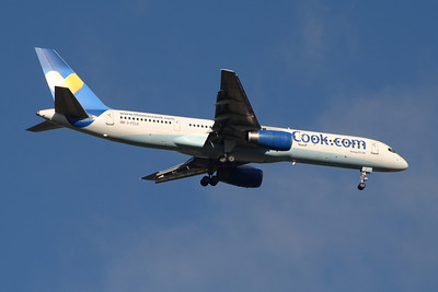 G-FCLD A Thomas Cook Airlines Boeing 757-25F on approach to Glasgow Airport. It wears the new Thomas Cook 'Sunny Heart' logo on it's tail. It was withdrawn in March 2014.
