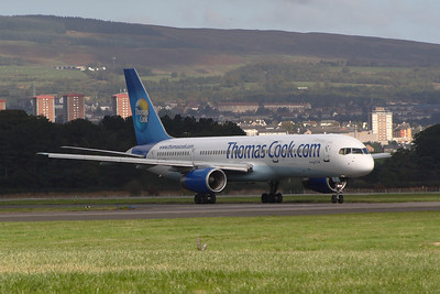 G-FCLJ A Thomas Cook Airlines Boeing 757-2Y0 taxying after landing at Glasgow Airport. It was withdrawn in November 2014.