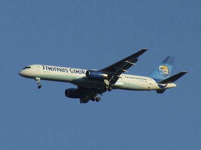G-JMCF A Thomas Cook Airlines Boeing 757-28A on approach to Glasgow Airport. It was withdrawn in June 2010.