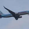 Thomson Airways Boeing 737-8K5 (G-FDZY) on approach to Glasgow Airport.
