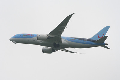 Boeing 787-8 Dreamliner (G-TUIC) taking off from Glasgow Airport on it's inaugural service for Thomson Airways on a long haul service to Cancun. Thomson are the first British airline to fly the Dreamliner in service, and will dramatically improve on the quality of aircraft available to the fleet.