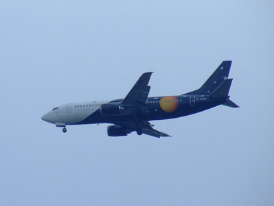 G-ZAPM Boeing 737-33A of Titan Airways on approach to Glasgow Airport. The aircraft was withdrawn in October 2007